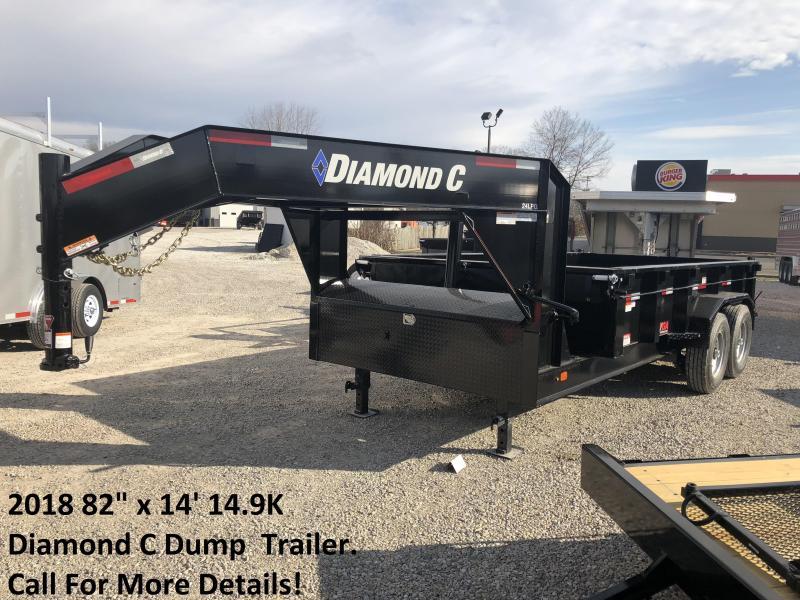 """2018 82"""" x 14' 14.9K Diamond C Dump Trailer. 95971"""