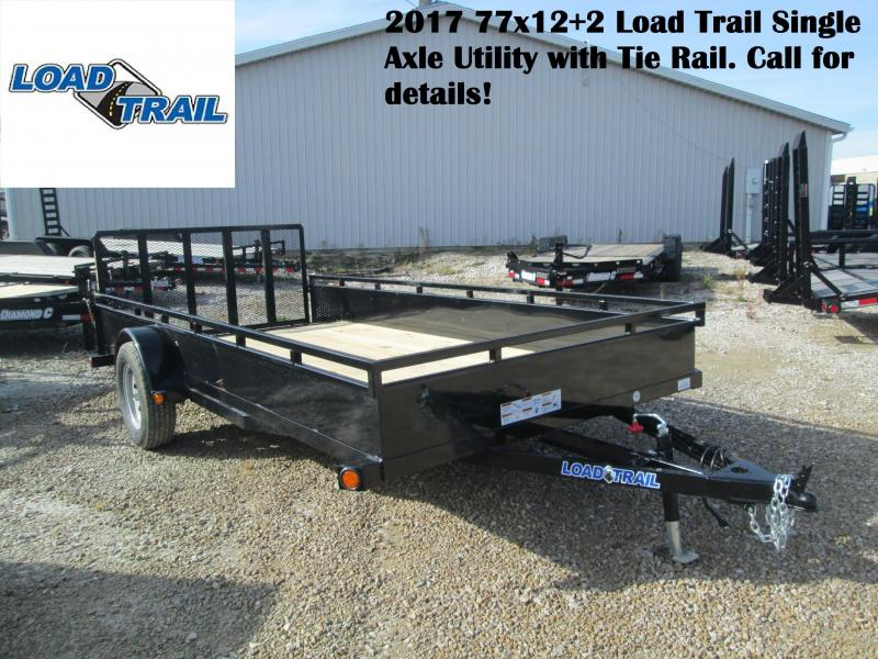 2017 77x14 Load Trail Single Axle Utility trailer with Tie Rail.  25393