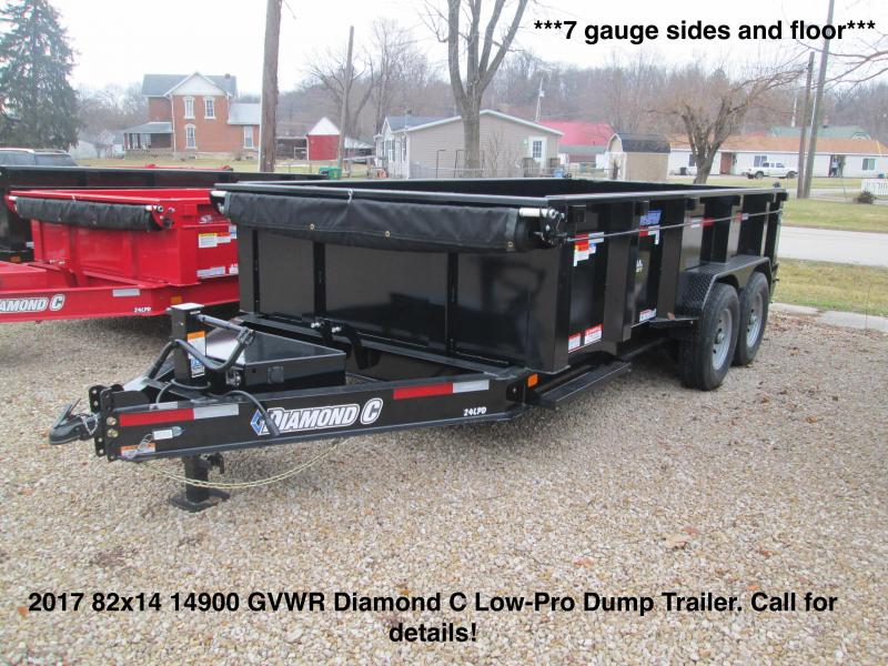 2017 82x14 14900 GVWR Diamond C Low-Pro Dump.  83587
