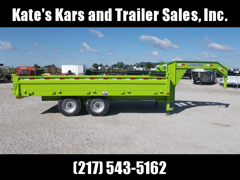 16000 LB GVWR Load Trail SAFETY GREEN 96X16' Dump Trailer Gooseneck