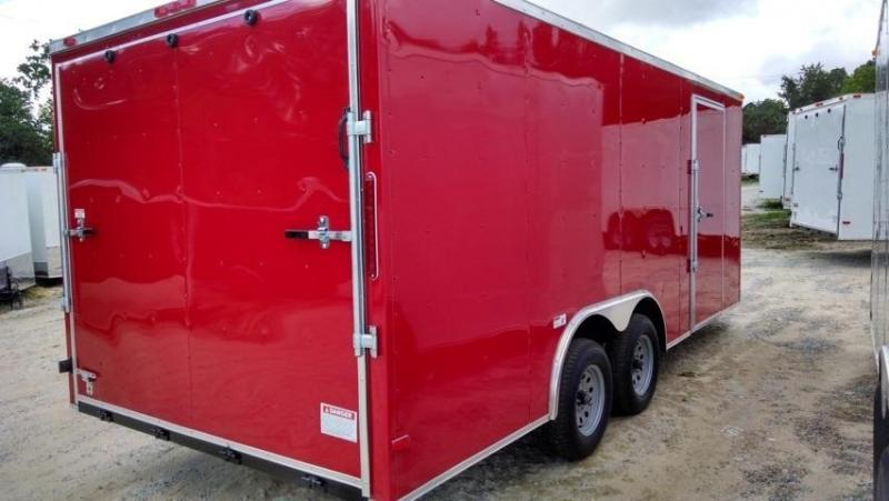 New South Georgia 8 5 X 16 Red Enclosed Cargo Trailer New Cargo Trailers For Sale In Georgia