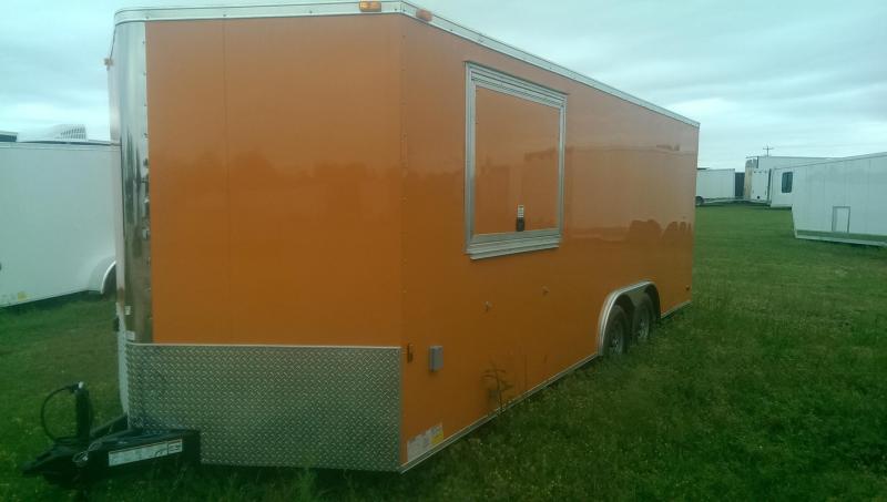 8.5 x 20 TA3 Enclosed Concession Trailer Shell Orange