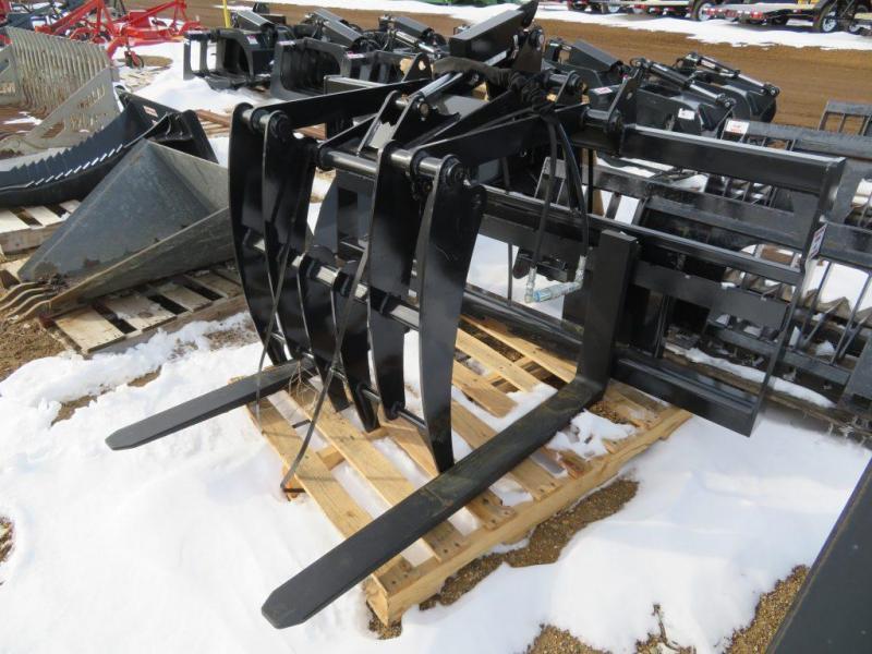New Jenkins Walk-Thru Skid Steer Pallet Forks with Grapple Fork