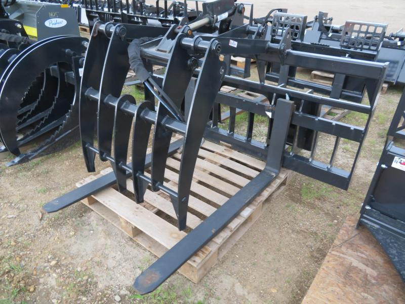 New Jenkins Walk-Thru Skid Steer Pallet Forks with Grapple Fork