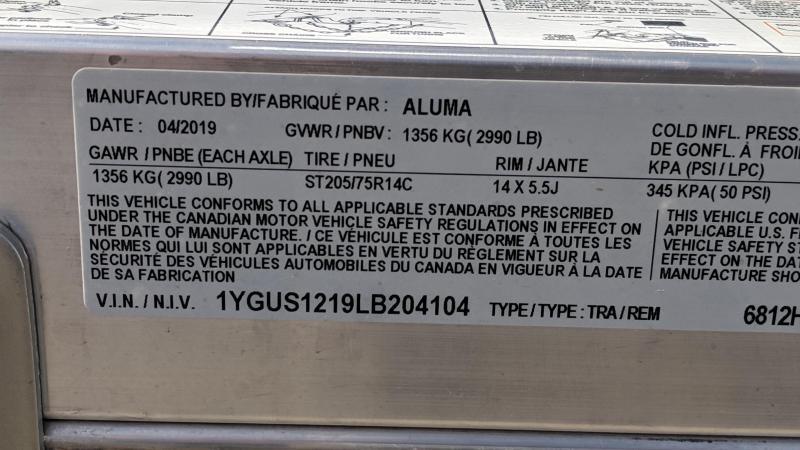 2020 Aluma 6812H Utility Trailer