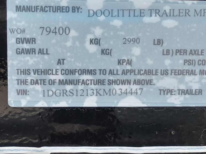 2019 Doolittle Trailer Mfg Rally Sport 770 Series 3K Single Axle Utility Trailer