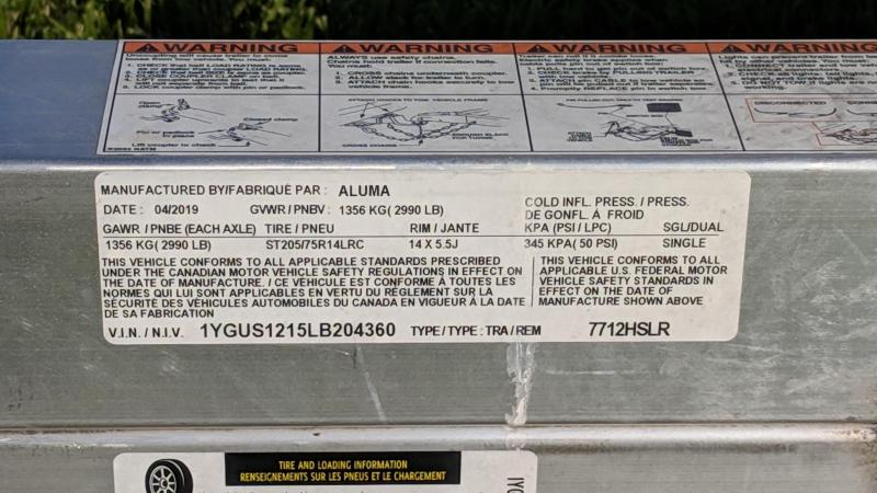 2020 Aluma 7712HSLR Utility Trailer