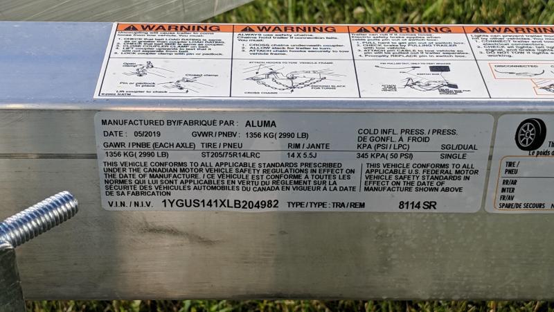 2020 Aluma 8114SR Utility Trailer