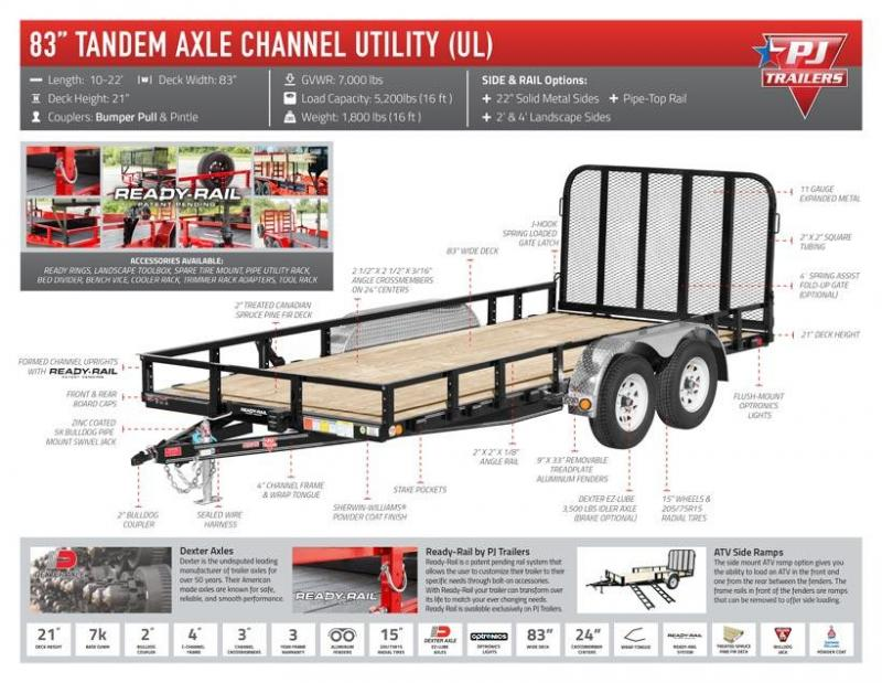 "2019 PJ Trailers Tandem Axle Utility (UL) Utility Trailer 16' x 83"""