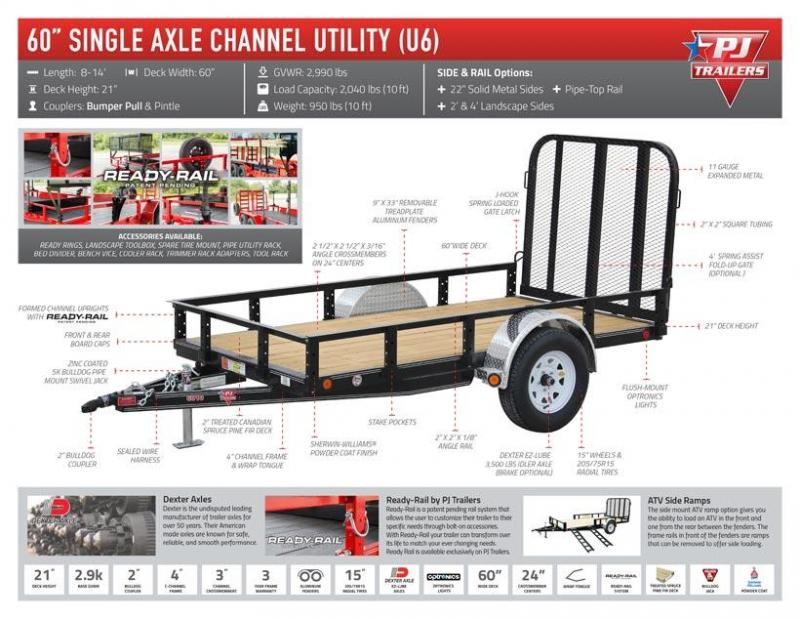 2019 PJ Trailers Single Axle Channel Utility (U6) Utility Trailer 8' x 60""