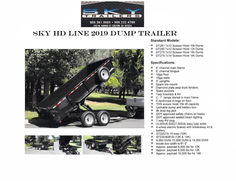 2019 SKY HD Dump Trailer