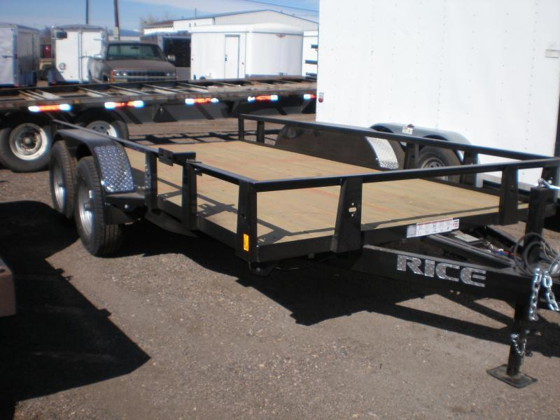 10K Rice 82x14 Utility Trailer - Slide-out Ramps