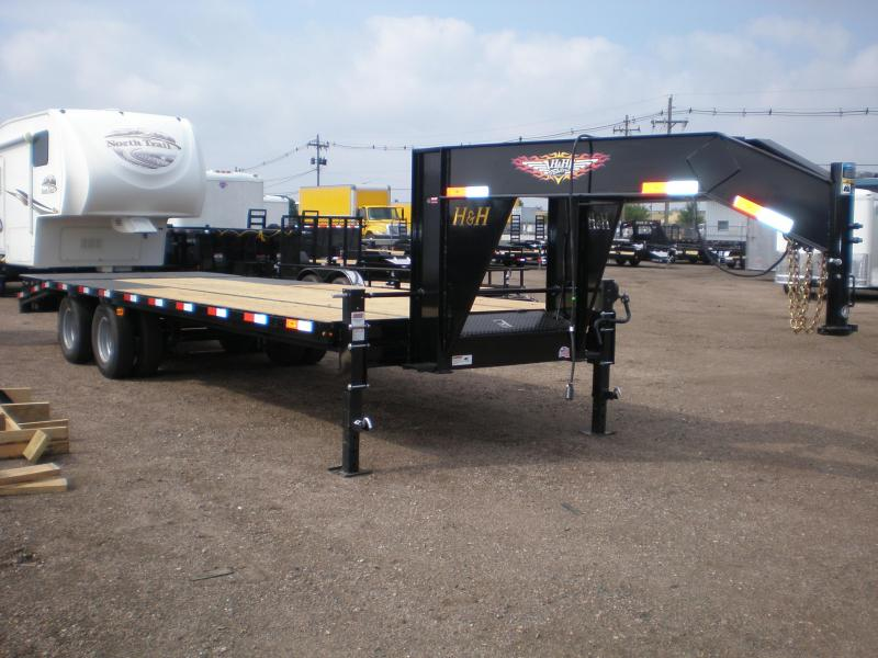 2019 H and H Trailer 24K Deckover w/Super Deluxe Ramps Equipment Trailer