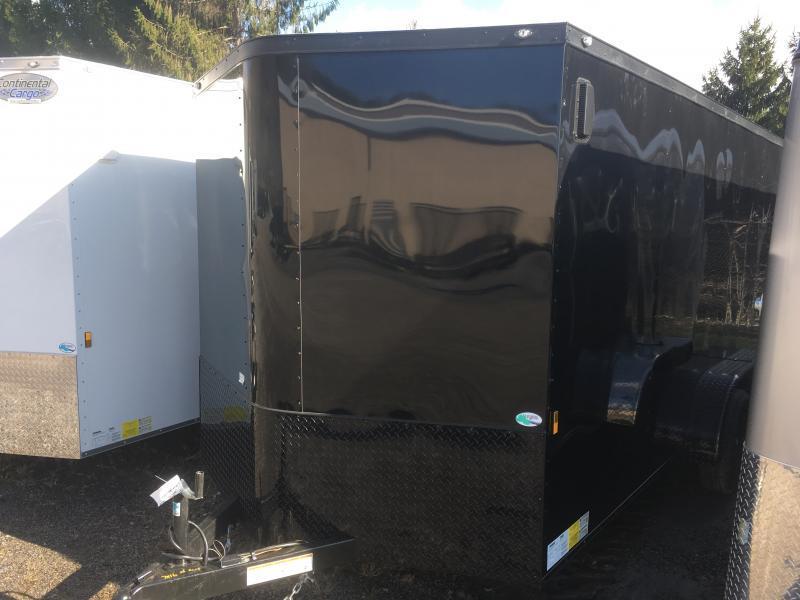 2019 Continental Cargo 7x16 vnose black out sd ramp door Enclosed Cargo Trailer