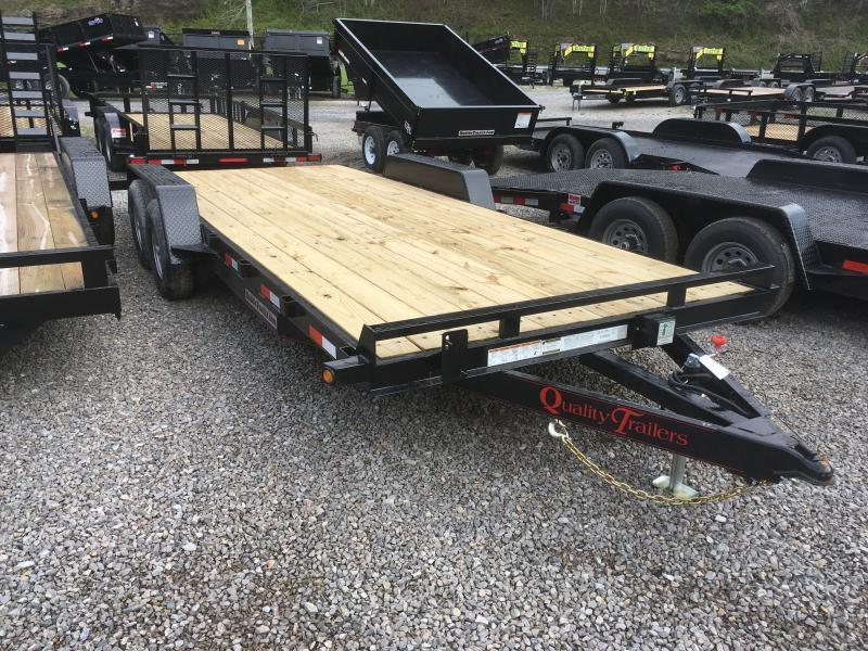 2019 Quality Trailers 82x20 5ton bumper pull wood car hauler Trailer w/left removable fender