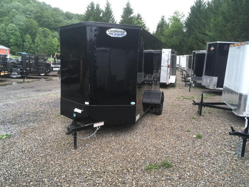 2019 Continental Cargo 6x12 V-Nose Black Out Side Door Ramp Door Enclosed Cargo Trailer