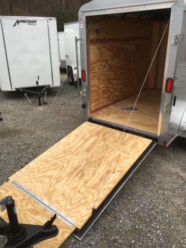2018 Cargo Mate Blazer 5x8 Round Top 12in extra ht Ramp Door Silver Enclosed Cargo Trailer