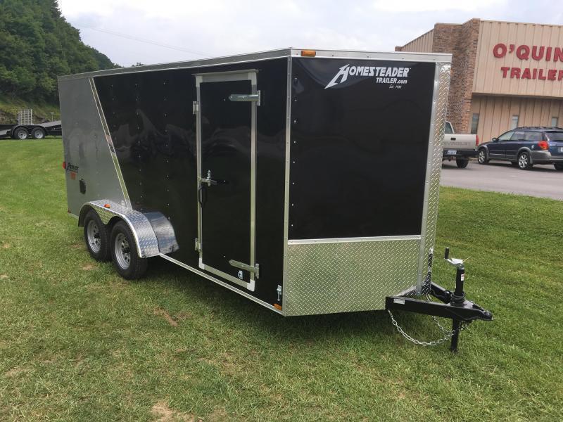 2019 Homesteader 7x16 Intrepid Black/Silver sd ramp Enclosed Cargo Trailer