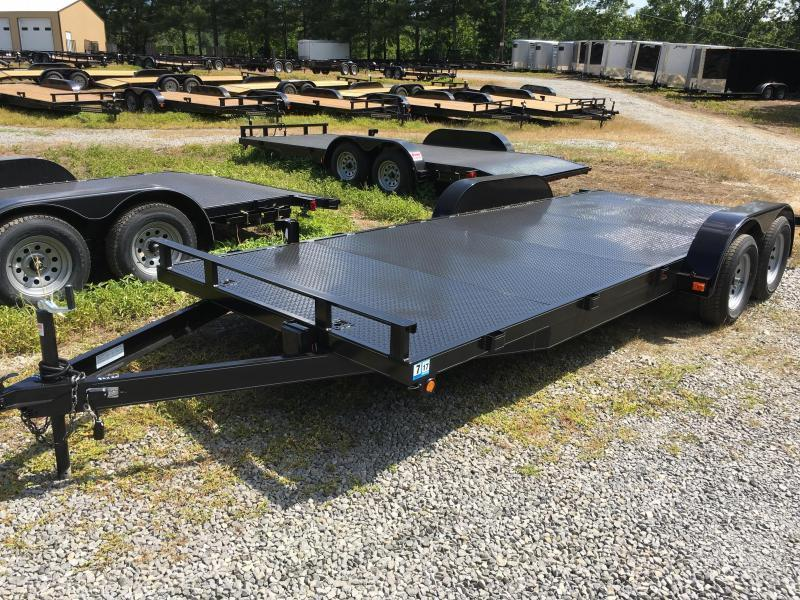 2019 Other 82x20 steel floor left removable fender rear ramps car hauler Car / Racing Trailer