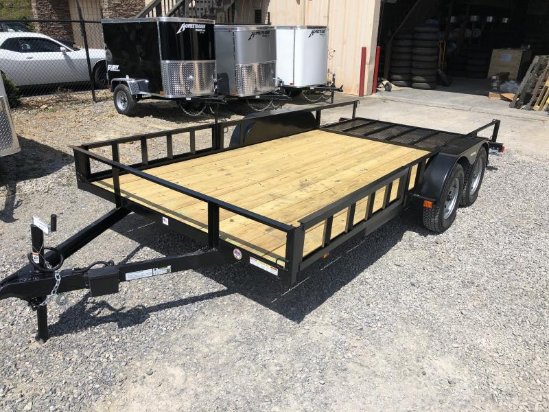 2019 Triple Crown 82x16 tandem axle side load ramps w/gate Utility Trailer