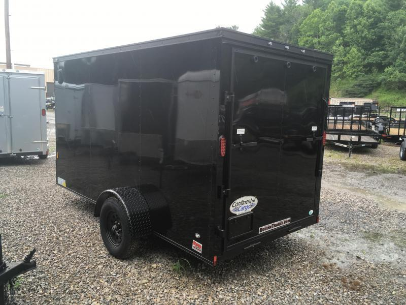 2019 Continental Cargo 6x12 V-Nose Black Out Side Door Ramp Door Enclosed Cargo Trailer
