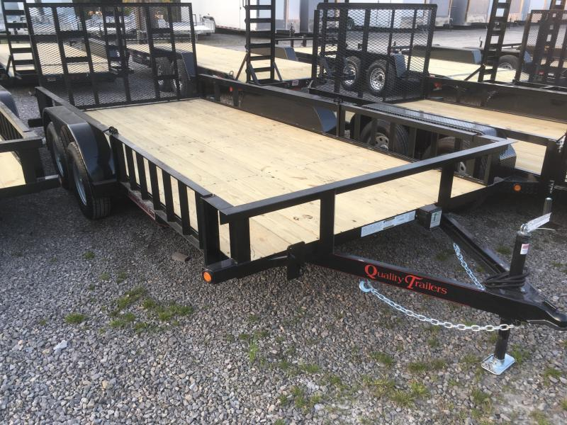 2019 Quality Trailers 82x16 side load ramps 4brake HD Gate Utility Trailer