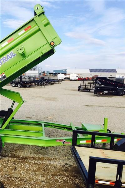 Load Trail DT14 83 X 14 Scissor Lift Dump Trailer (Safety Green)