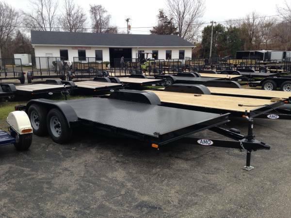 18ft Wood Deck Car Hauler Trailer w/ 2 Axle Brake *2018 Model Discount*