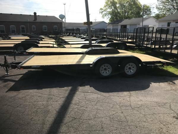 16ft Wood Deck Car Hauler Trailer w/ 2 Axle Brake