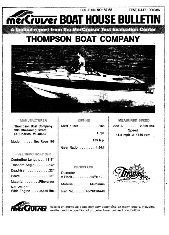 1988 Thompson Power Boat