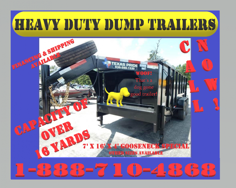 2019 TEXAS PRIDE 16' Dump Trailer Special 4' Sides