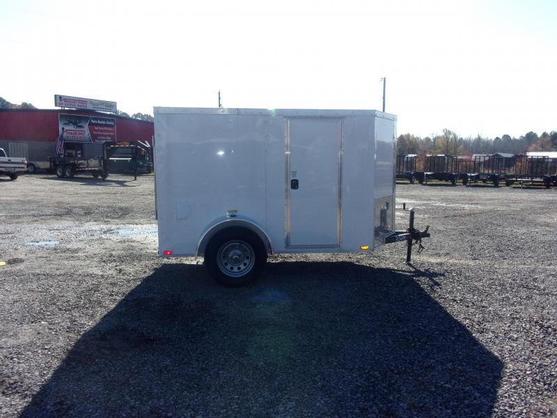 2019 Doolittle Trailer Mfg Razorback 5x8SA White Ramp Door Enclosed Cargo Trailer
