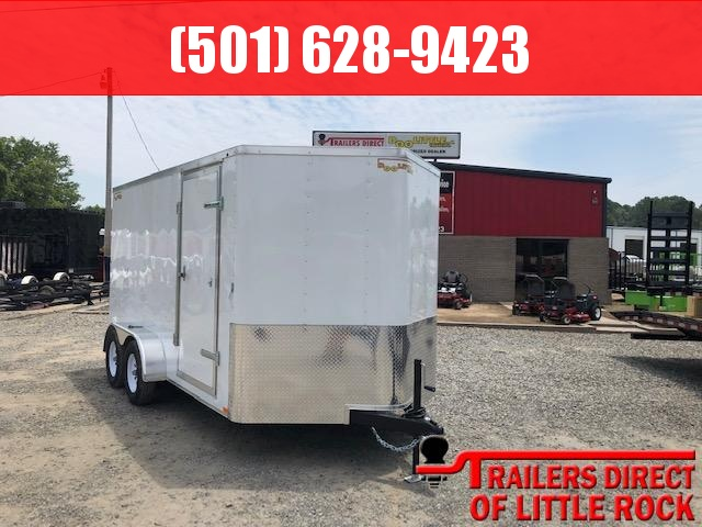 2019 Doolittle Trailer Mfg Doolittle 7x14 White Ramp Door Enclosed Cargo Trailer