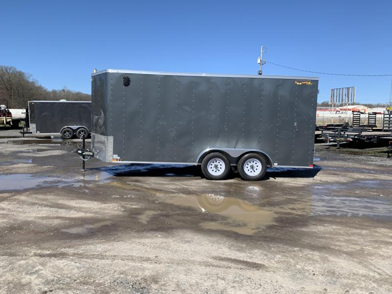 2019 Doolittle Trailer Mfg Bullitt 7x16TA Gray Barn Door Enclosed Cargo Trailer