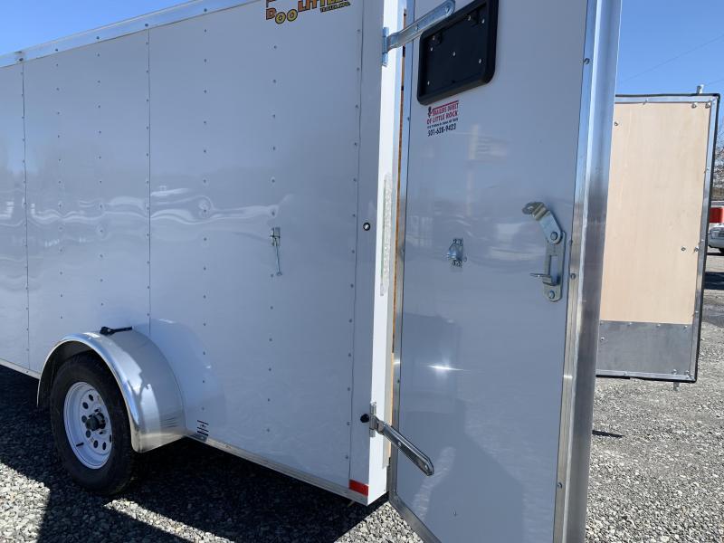 2019 Doolittle Trailer Mfg Bullitt 6x12SA White Barn Door Enclosed Cargo Trailer