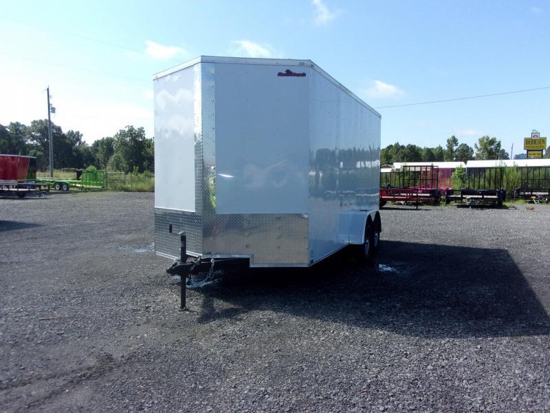 2019 Doolittle Trailer Mfg Razorback 7x16TA White Ramp Door 12in Xtra Height Enclosed Cargo Trailer