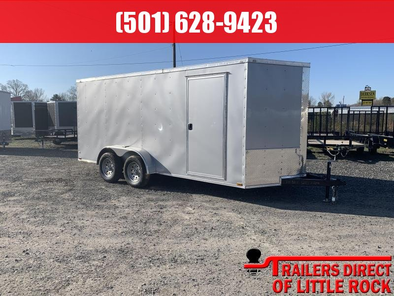 2019 Doolittle Trailer Mfg Razorback 7X16TA Silver Ramp Door Enclosed Cargo Trailer