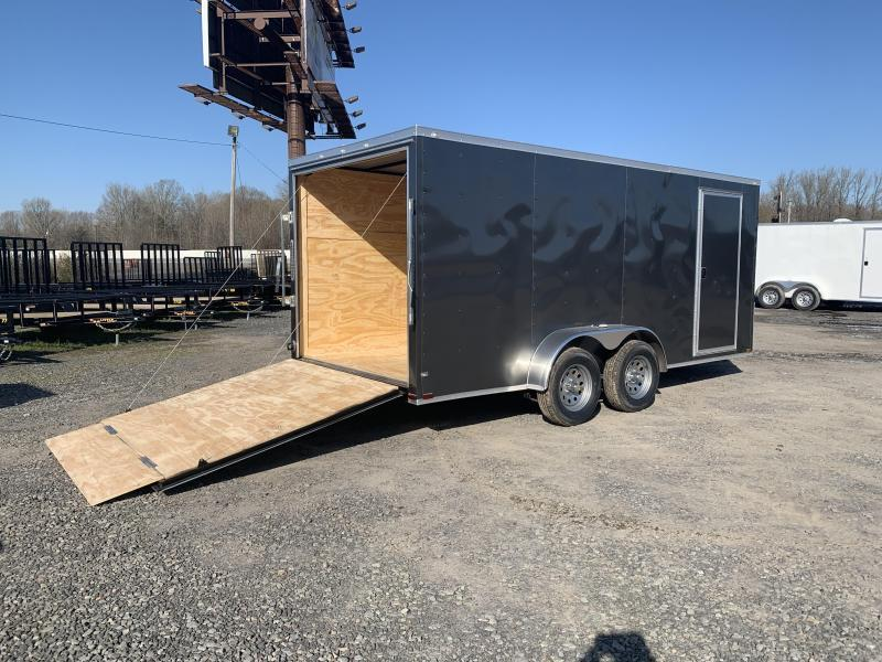 2019 Doolittle Trailer Mfg Razorback 7X16TA Charcoal Ramp Door Enclosed Cargo Trailer