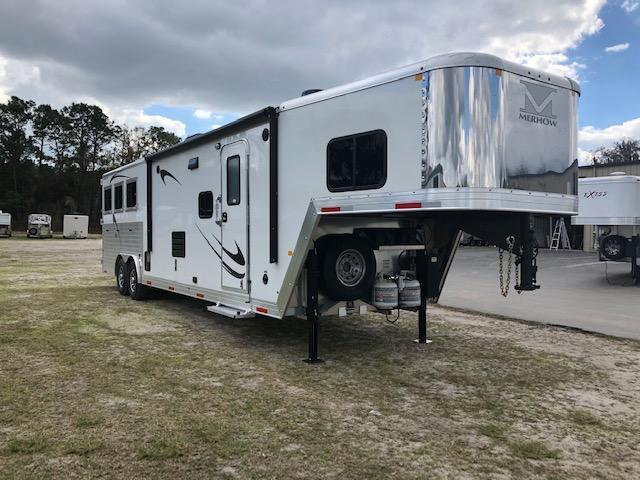2019 Merhow Trailers 8 wide 3 horse w/13.6' lq & slide Horse Trailer