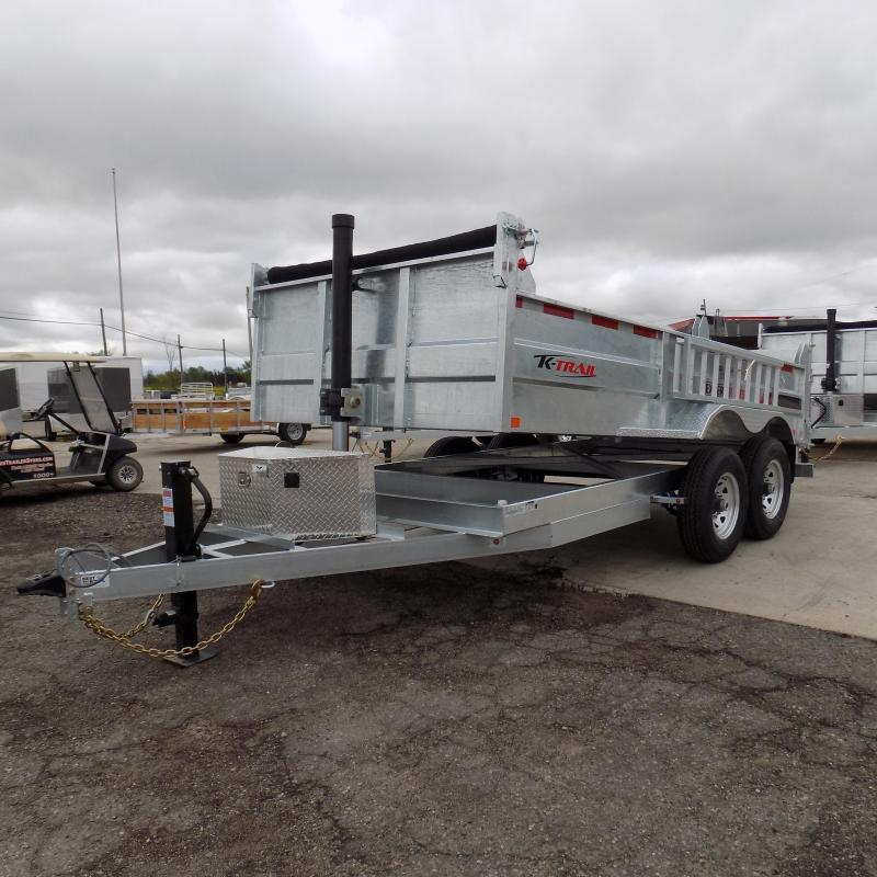"New Galvanized 80"" x 14' Dump Trailer with 24K Telescopic Lift"
