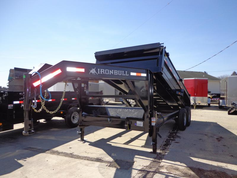 "New Iron Bull 83"" x 16' Gooseneck Dump Trailer - 8K Axle Upgrade"