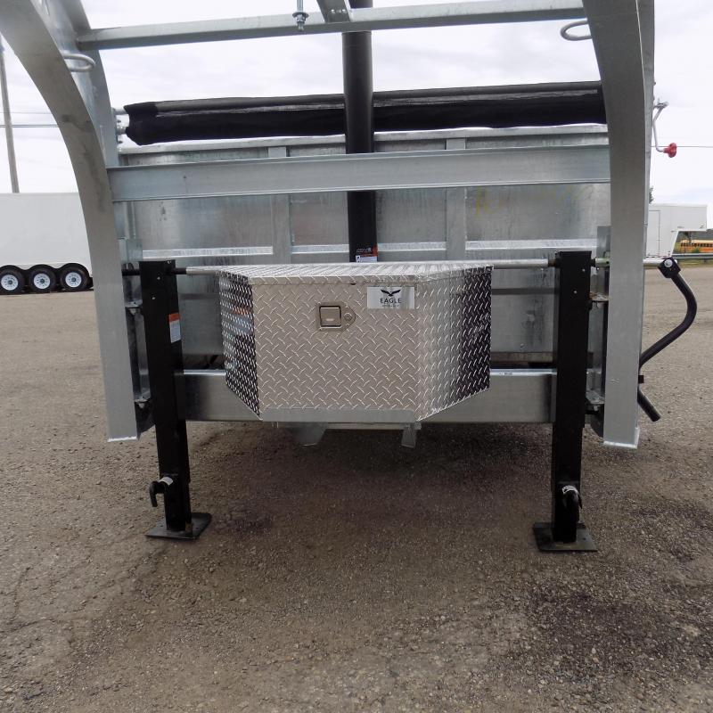 "New Galvanized 80"" x 16' Goosenecl Dump Trailer with 24K Telescopic Lift"