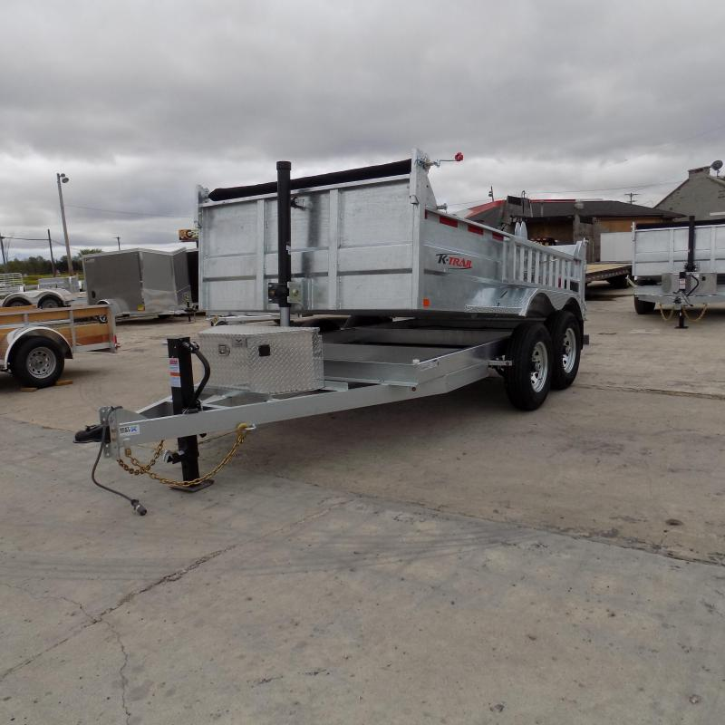 "New Galvanized 80"" x 12' Dump Trailer with 24K Telescopic Lift"