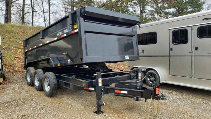 "New Iron Bull 83"" x 16' Triple Axle Dump Trailer with 48"" Sides"
