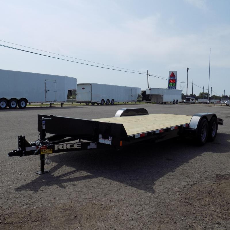 """New Rice Trailers 82"""" x 20' Open Car Hauler With 5200# Axles"""