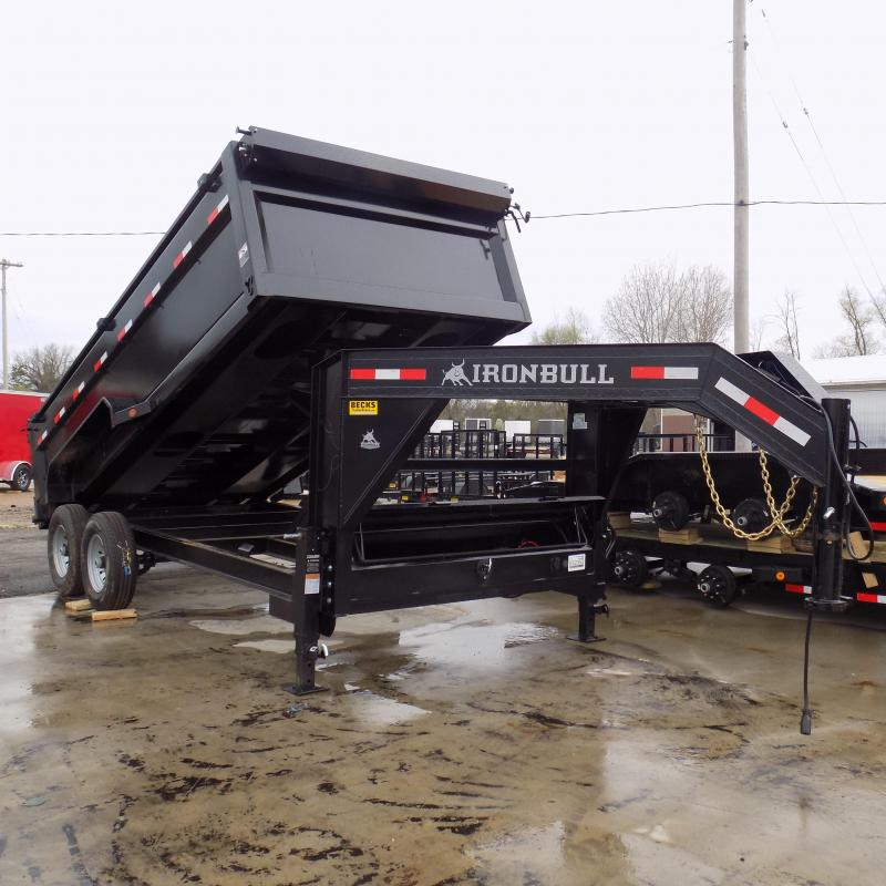 "New Iron Bull 83"" x 16' Goosneck Dump Trailer with 36"" Sides"