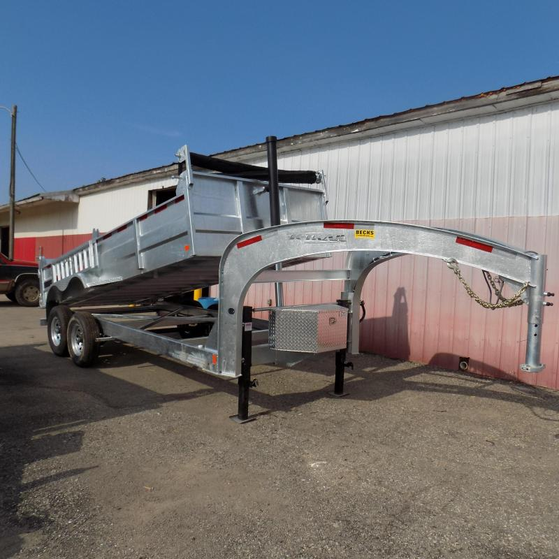 "New Galvanized 80"" x 16' Gooseneck Dump Trailer with 24K Telescopic Lift"