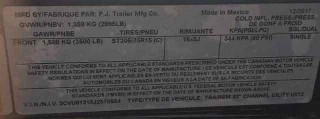"2018 PJ Trailers U8 83"" x 12' Utility Trailer"