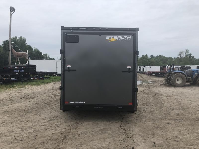 Stealth Trailers Charcoal 7x12 V-Nose Ramp Door HD UTV+12 Pkg Enclosed Cargo Trailer