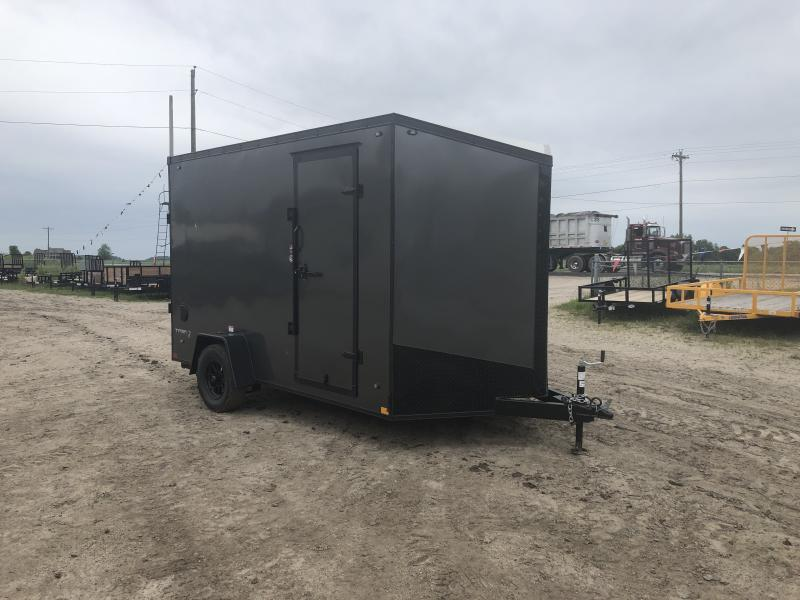 Stealth Trailers Charcoal 7x12 V-Nose Ramp Door HD UTV+12 Pkg Enclosed Cargo Trailer